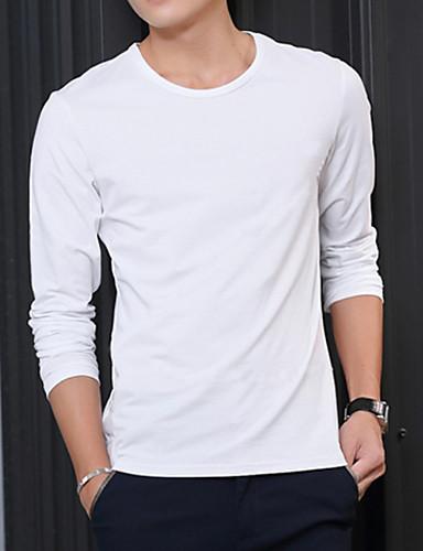 voordelige Uitverkoop-Heren Standaard Grote maten - T-shirt Effen Ronde hals Skinny Zwart / Lange mouw