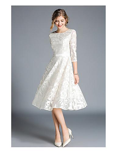 preiswerte Kleider für besondere Anlässe-A-Linie Bateau Knie-Länge Spitze Abiball Kleid mit durch LAN TING Express