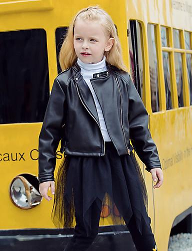 子供 女の子 ストリートファッション ソリッド 長袖 レギュラー ポリウレタン ジャケット&コート ブラック