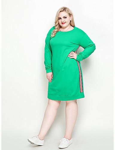 80d2ea02f3cf Women's Plus Size Work Weekend Vintage Street chic Loose Shift T Shirt Dress  - Color Block Patchwork Fall Cotton Green XXXXL XXXXXL XXXXXXL