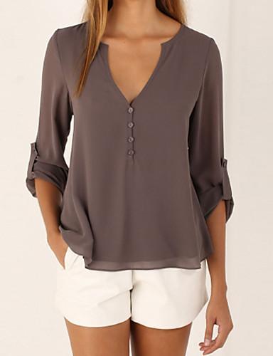 abordables Camisas y Camisetas para Mujer-Mujer Casual Noche Blusa, Escote en V Profunda Corte Ancho Un Color Café XXXL / Verano
