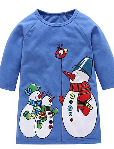 Djeca Dijete koje je tek prohodalo Djevojčice Aktivan Božić Crtani film 3/4 rukava Haljina Plava