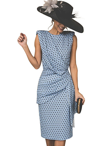 Women s Vintage Sheath Dress - Polka Dot Red Pink Light Blue XXL XXXL XXXXL    Sexy 3a0ccb6ed