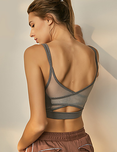 400329601413c Women s Cut Out Sports Bra Gray Light Pink Dark Navy Sports Solid Color Mesh  Top Zumba Yoga Fitness Sleeveless Activewear Breathable High Impact Push Up  ...