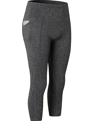 f24a607870a24 Women's Pocket Yoga Pants Blue Gray+White Dark Gray Sports Solid Color  Elastane High Rise 3/4 Capri Pants Bottoms Zumba Running Fitness Activewear  Butt Lift ...