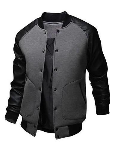 Χαμηλού Κόστους Ανδρικά μπουφάν και παλτό-Ανδρικά Καθημερινά / Σαββατοκύριακο Ενεργό Φθινόπωρο / Χειμώνας Κανονικό Bomber Jacket, Patchwork Μακρυμάνικο Βαμβάκι / Πολυεστέρας Μαύρο / Σκούρο γκρι / Ανοιχτό Γκρι L / XL / XXL