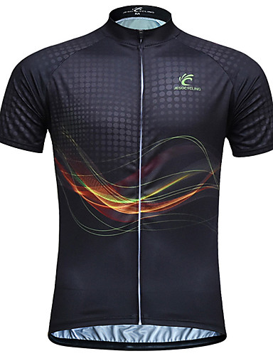 cheap Cycling Clothing-JESOCYCLING Men's Women's Short Sleeve Cycling Jersey - Black Stripes Plus Size Bike Jersey Top Breathable Quick Dry Ultraviolet Resistant Sports 100% Polyester Mountain Bike MTB Road Bike Cycling
