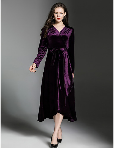 c4c669d3f5c1 Women s Velvet Party   Daily Street chic Swing Dress - Solid Colored V Neck  Fall Velvet Black Purple L XL XXL
