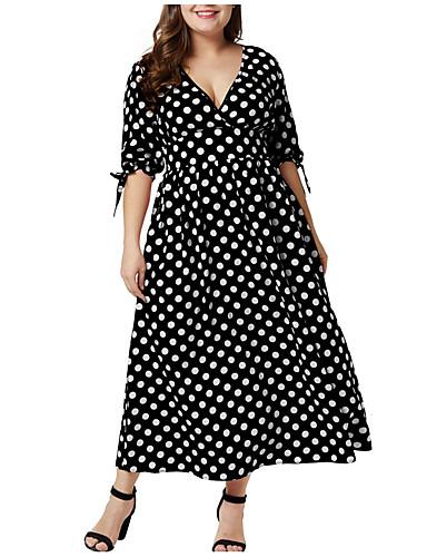 voordelige Grote maten jurken-Dames Grote maten Ruimvallend Schede Jurk V-hals Asymmetrisch