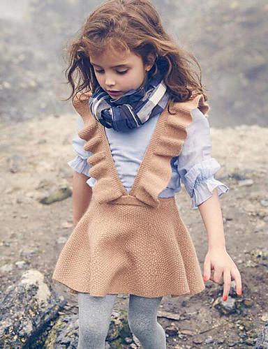 Djeca Djevojčice slatko Ulični šik Dnevno Izlasci Jednobojni Nabori Bez rukávů Haljina Crn