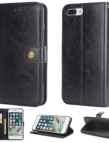 Θήκη Za Apple iPhone 8 Plus Novčanik / Utor za kartice / Zaokret Stražnja maska Jednobojni Tvrdo PU koža
