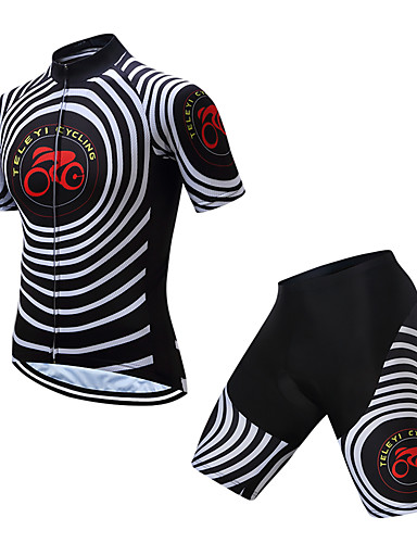 cheap Cycling Clothing-TELEYI Men's Short Sleeve Cycling Jersey with Shorts - Black / White Bike Clothing Suit Moisture Wicking Quick Dry Sports Polyester Circle Mountain Bike MTB Road Bike Cycling Clothing Apparel
