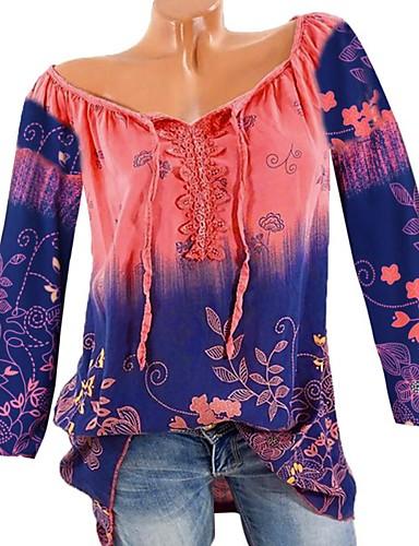 abordables Hauts pour Femmes-Tee-shirt Grandes Tailles Femme, Fleur Basique Col en V Arc-en-ciel