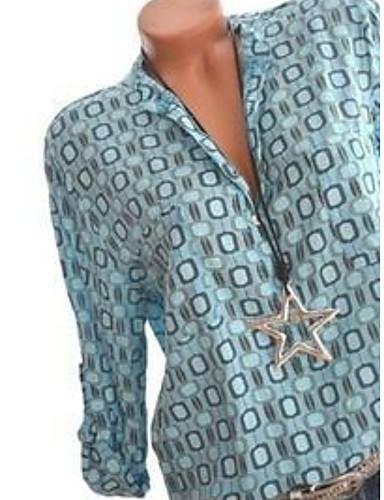 billige Dametopper-Skjortekrage Store størrelser Skjorte Dame - Geometrisk, Trykt mønster Grunnleggende Hvit XXXL