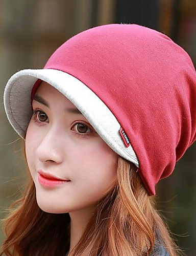 ba7e73c5 Women's Basic Polyester Beanie / Slouchy Beret Hat Floppy Hat-Color Block  Fall Winter Gray Wine Khaki