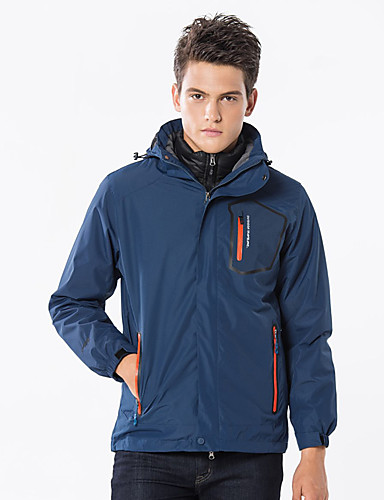 cheap Outdoor Clothing-Men's Hiking Jacket Outdoor Autumn / Fall Spring Windproof UV Resistant Rain Waterproof Breathability 3-in-1 Jacket Top Single Slider Outdoor Exercise Dark Blue / Dark Grey / Army Green / Winter