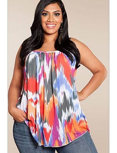 billige Dametopper-Tynn U-hals T-skjorte Dame - Ensfarget / Geometrisk, halo-farging Grunnleggende Blå