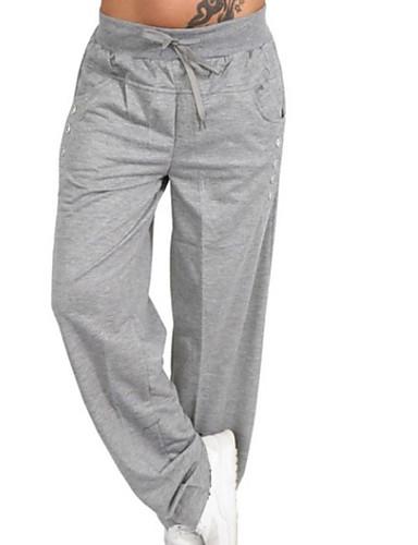 ราคาถูก กางเกงผู้หญิง-สำหรับผู้หญิง พื้นฐาน ขนาดพิเศษ ทุกวัน กางเกง Chinos กางเกง - สีพื้น เอวสูง เทาเข้ม สีน้ำเงินกรมท่า เทาอ่อน XXXL XXXXL XXXXXL
