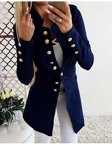 voordelige Damesblazers & jasjes-Dames Dagelijks Standaard Herfst Lang Blazer, Effen Opstaand Lange mouw Polyester Zwart / Rood / Grijs / Slank