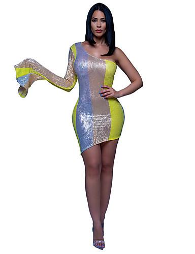 billige Kjoler-Dame Elegant Kjegle Erme Tynn Skjede Kjole - Fargeblokk, Paljetter Enskuldret Asymmetrisk / Sexy