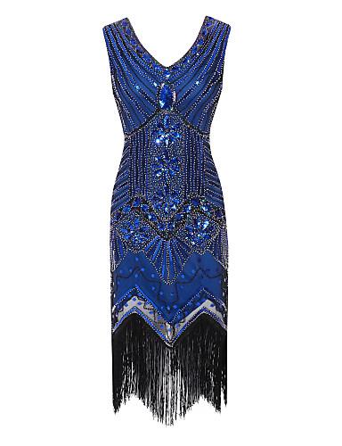 billige Feriekjoler-Tube / kolonne V-hals Knelang Polyester Glitrende / Liten svart kjole / Fargeblokk Cocktailfest Kjole med Paljett / Krystalldetaljer av TS Couture®