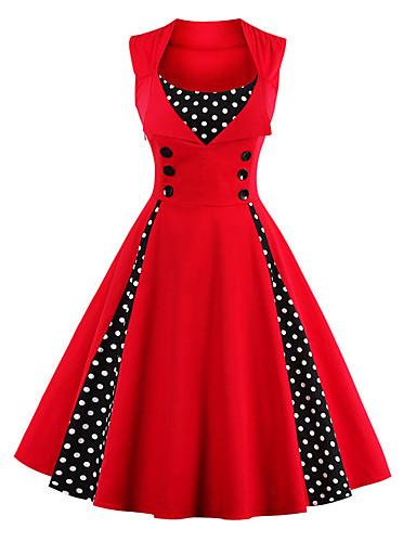 756417b3a3de Audrey Hepburn Polka Dots Retro / Vintage 1950s Costume Women's Dress Green  / Ink Blue / Fuschia Vintage Cosplay Sleeveless Knee Length