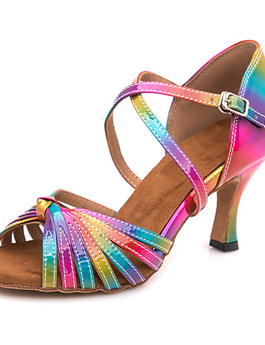 27bfe0726f29 Γυναικεία Παπούτσια χορού λάτιν PU Πέδιλα / Αθλητικά Αγκράφα Λεπτή ψηλή  τακούνια Εξατομικευμένο Παπούτσια Χορού Ουράνιο Τόξο / Επίδοση / Δέρμα