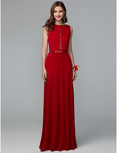 3087b742e Funda   Columna Joya Hasta el Suelo Encaje   Punto Vestido de Dama de Honor  con Encaje por LAN TING BRIDE®