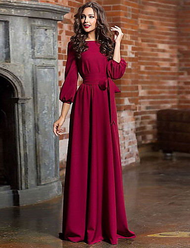 abordables Robes Femme-Femme Soirée Basique Maxi Balançoire Robe Taille haute Bleu Vert Vin M L XL Coton Manches Longues