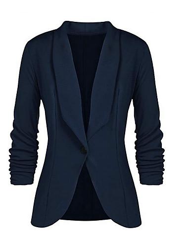 abordables Manteaux & Vestes Femme-Femme Quotidien Printemps & Automne Normal Blazer, Couleur Pleine Col de Chemise Manches Longues Polyester Marine / Jaune / Vin XL / XXL / XXXL