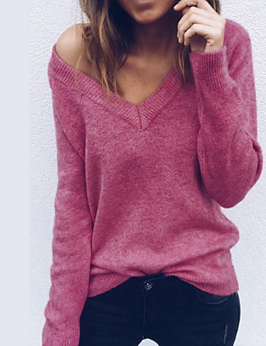 povoljno Ženske majice-Majica s rukavima Žene - Osnovni Dnevno Jednobojni Duboki V Loose Fit Blushing Pink / Proljeće / Ljeto / Jesen