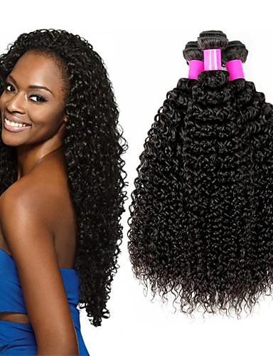 baratos Liquidação-4 pacotes Cabelo Brasileiro Kinky Curly Cabelo Virgem Cabelo Humano Ondulado Cabelo Bundle Um Pacote de Solução 8-28 polegada Côr Natural Tramas de cabelo humano S. Valentim Sedoso Melhor qualidade