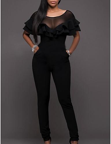 Pentru femei Mărime Plus Size Zilnic De Bază Negru Salopete, Mată M L XL Talie Înaltă Manșon scurt