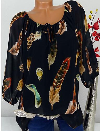 billige Dametopper-Store størrelser Bluse Dame - Blomstret / Trykt mønster / Fjær, Blondér / Trykt mønster Grunnleggende / Tropisk Svart XXXL / Vår / Høst