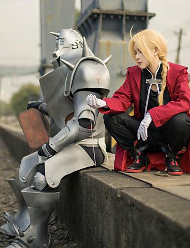 povoljno Anime kostimi-Inspirirana Fullmetal Alchemist Edward Elric Anime Cosplay nošnje Japanski Cosplay Suits Kolaž Dugih rukava Kaput / Mellény / Hlače Za Muškarci / Plašt
