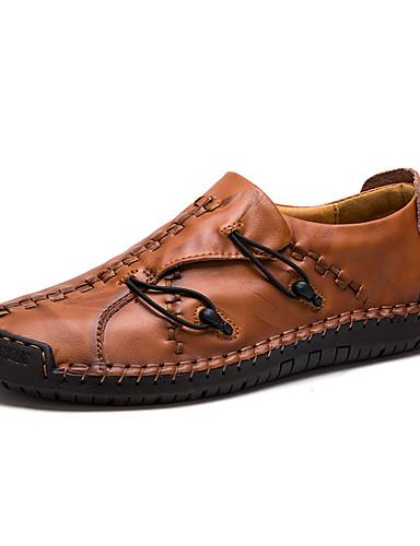 billige Shoes & Bags Must-have-Herre Lærsko Lær Vår & Vinter Forretning / Fritid En pedal Svart / Mørkebrun / Gul / utendørs