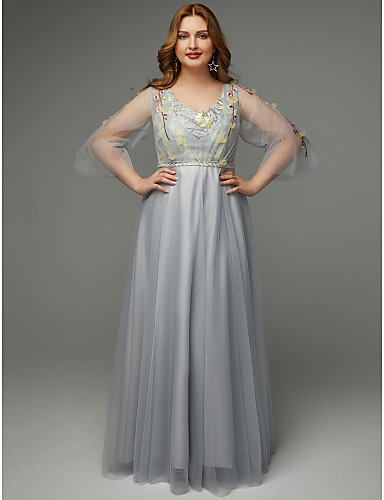 932b9ccfa9d Plus Size A-Line V Neck Floor Length Tulle Prom Dress with Embroidery   Sash