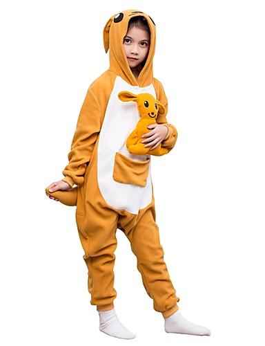 billige Kigurumi-Kigurumi-pysjamas Kenguru Onesie-pysjamas Polar Fleece Gul Cosplay Til Gutter og jenter Pysjamas med dyremotiv Tegnefilm Festival / høytid kostymer
