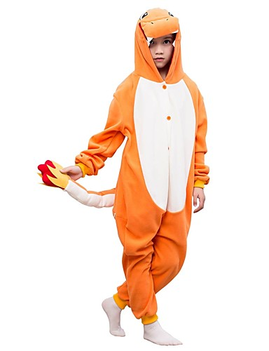 billige Kigurumi-Kigurumi-pysjamas Dinosaur Onesie-pysjamas Polar Fleece Oransje Cosplay Til Gutter og jenter Pysjamas med dyremotiv Tegnefilm Festival / høytid kostymer