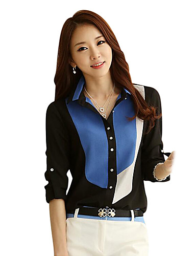 abordables Camisas y Camisetas para Mujer-Mujer Trabajo / Playa Retazos Camisa, Cuello Camisero Bloques Negro L / Verano