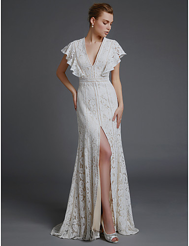 cheap Beach & Honeymoon Dresses-A-Line V Neck Sweep / Brush Train Lace Made-To-Measure Wedding Dresses with Split Front by LAN TING BRIDE®