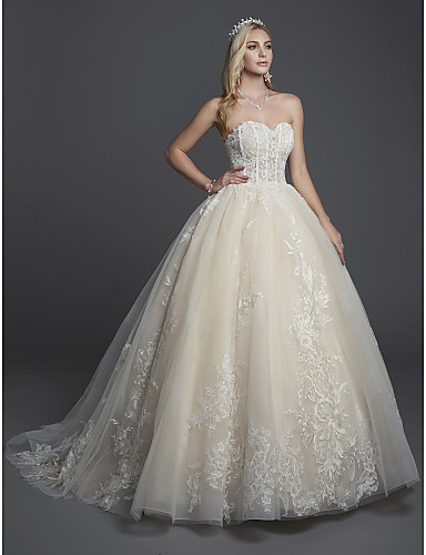 6ed7e7961ef Ball Gown Strapless Court Train Lace   Tulle Made-To-Measure Wedding Dresses  with Appliques   Lace by LAN TING BRIDE®