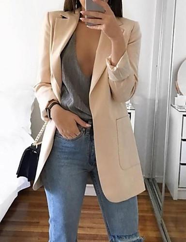hesapli Kadın Blazerları ve Ceketleri-Kadın's Günlük Temel Bahar Normal Blazer, Solid Çentik Yaka Uzun Kollu Polyester Doğal Pembe / Gri / Haki L / XL / XXL