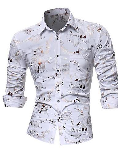 cheap Men's Shirts-Men's Club Luxury Asian Size Slim Shirt - Floral Spread Collar