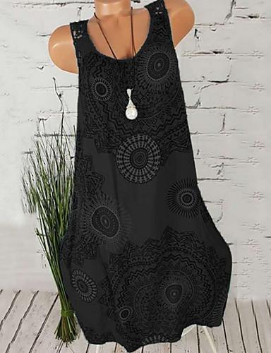 Kadın's Büyük Bedenler Kumsal Kombinezon Elbise - Çiçekli, Desen U Yaka Diz-boyu / Sexy