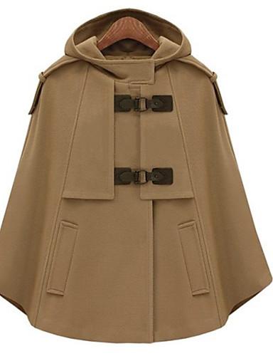 billige Ytterklær til damer-Dame Ut på byen Høst vinter Normal Cloak / Capes, Ensfarget Med hette Ermeløs Polyester Kamel / Navyblå / Løstsittende