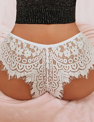 Women's Plus Size Lace Sexy G-strings & Thongs Panties / Briefs Solid Colored Mid Waist White Black XL XXL XXXL