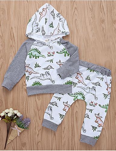 Baby Jente Gatemote Daglig Trykt mønster Langermet Normal Polyester Tøysett Hvit