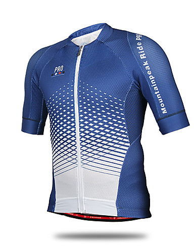 66a1a2d80 Mountainpeak Men s Short Sleeve Cycling Jersey - Blue   White Plaid    Checkered Bike Jersey Quick Dry Anatomic Design Sports Polyester Coolmax®  Mountain ...
