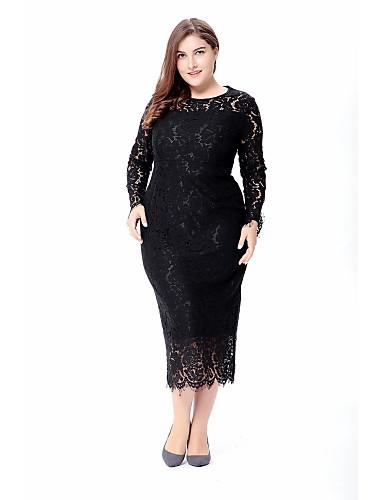 66defa93567f1f Women's Plus Size Holiday Going out Vintage Street chic Loose Chiffon Dress  - Solid Colored Lace High Waist Spring White Black Red XXXXL XXXXXL XXXXXXL
